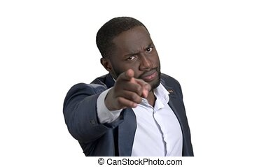 Black businessman with different facial expressions and...