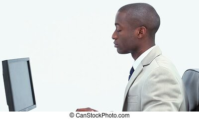 Black businessman working