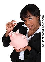 black , businesswoman, met, piggybank
