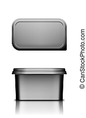Black butter, cheese or margarine container with lid mockup - front and top view. Blank plastic food package: cream, yogurt, dessert, spread. Product template. Isolated 3d vector illustration