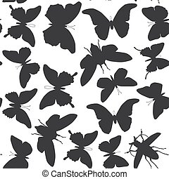 black butterflies cicada set isolated silhouette seamless pattern on white background. Vector illustration