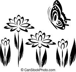 black butterfly and flowers 2