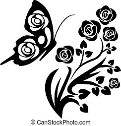 black butterfly and flowers