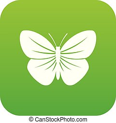 Black butterfly icon digital green