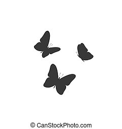 Black butterfly icon, isolated on a white. Vector