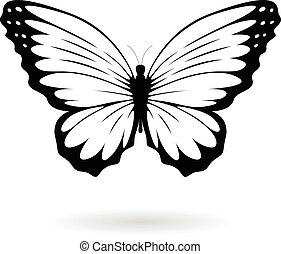 Black Butterfly Silhouette Illustration