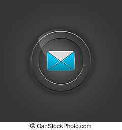 Black button envelope, email.