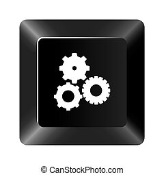 black button gear icon