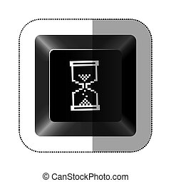 black button hourglass icon