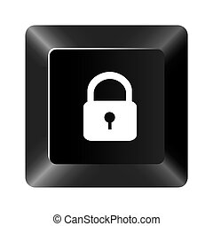 black button lock icon