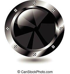 Black button on white background