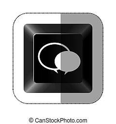 black button round chat bubbles icon