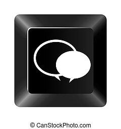 black button round chat bubbles icon