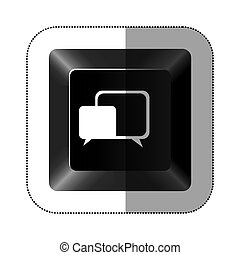 black button square bubble icon