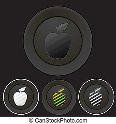 Black buttons set with apple silhouette