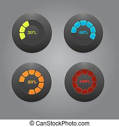 Black Buttons With Color Bars