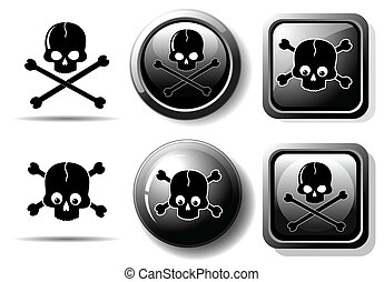 Black buttons with skull sign