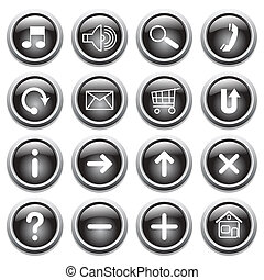 Black buttons with symbols