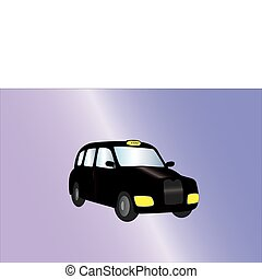 black cab on light background