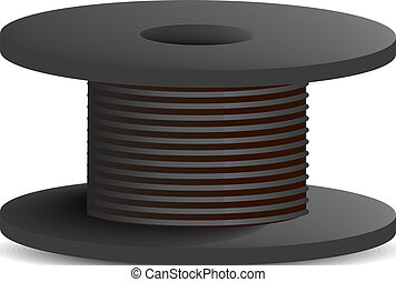 Black cable coil icon, realistic style - Black cable coil...
