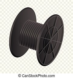 Black cable coil mockup, realistic style - Black cable coil...