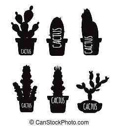 Black cactus silhouettes isolated on white background