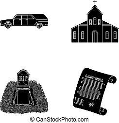 Black cadillac to transport the grave of the deceased, a...