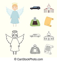 Black cadillac to transport the grave of the deceased, a church for a funeral ceremony, a grave with a tombstone, a death certificate. Funeral ceremony set collection icons in cartoon, outline style vector symbol stock illustration .