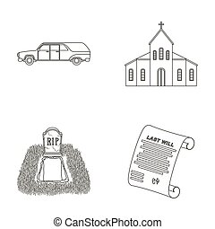 Black cadillac to transport the grave of the deceased, a church for a funeral ceremony, a grave with a tombstone, a death certificate. Funeral ceremony set collection icons in outline style raster, bitmap symbol stock illustration web.