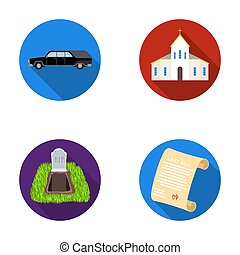 Black cadillac to transport the grave of the deceased, a church for a funeral ceremony, a grave with a tombstone, a death certificate. Funeral ceremony set collection icons in flat style raster, bitmap symbol stock illustration web.