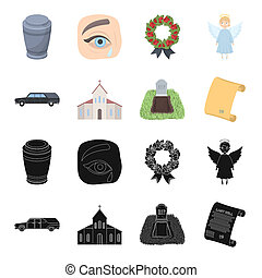 Black cadillac to transport the grave of the deceased, a church for a funeral ceremony, a grave with a tombstone, a death certificate. Funeral ceremony set collection icons in black, cartoon style bitmap symbol stock illustration web.