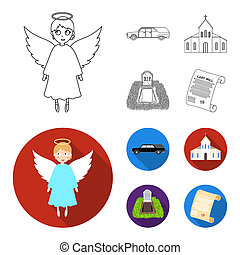 Black cadillac to transport the grave of the deceased, a church for a funeral ceremony, a grave with a tombstone, a death certificate. Funeral ceremony set collection icons in outline, flat style bitmap symbol stock illustration web.