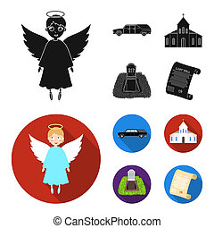 Black cadillac to transport the grave of the deceased, a church for a funeral ceremony, a grave with a tombstone, a death certificate. Funeral ceremony set collection icons in black, flat style bitmap symbol stock illustration web.