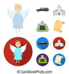 Black cadillac to transport the grave of the deceased, a church for a funeral ceremony, a grave with a tombstone, a death certificate. Funeral ceremony set collection icons in cartoon, flat style bitmap symbol stock illustration web.