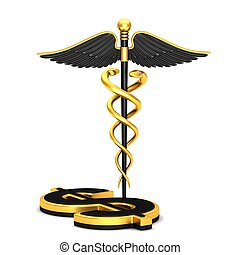 Black caduceus medical symbol and dollar sign on a white...