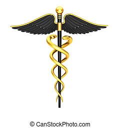 Black caduceus medical symbol isolated on a white background