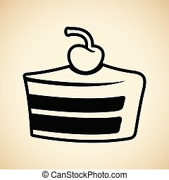 Black Cake Icon isolated on a Beige Background Vector Illustration