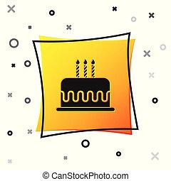 Black Cake with burning candles icon isolated on white background. Happy Birthday. Yellow square button. Vector Illustration