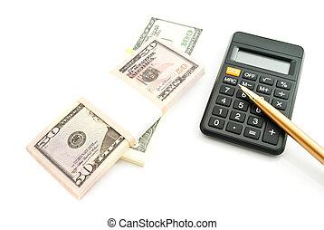 black calculator and money