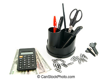 black calculator, dollar banknotes and other stationery