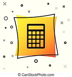 Black Calculator icon isolated on white background. Accounting symbol. Business calculations mathematics education and finance. Yellow square button. Vector Illustration