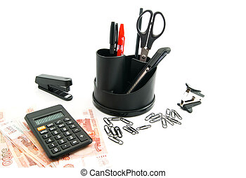 black calculator, money and other stationery