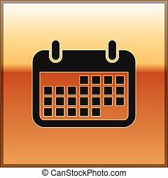 Black Calendar icon isolated on gold background. Vector Illustration