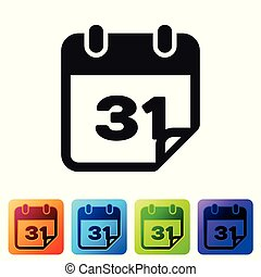 Black Calendar icon isolated on white background. Set icon in color square buttons. Vector Illustration