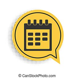 Black Calendar icon isolated on white background. Yellow speech bubble symbol. Vector