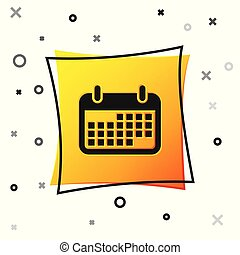 Black Calendar icon isolated on white background. Yellow square button. Vector Illustration