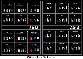 Black calendar template. 2013,2014 - Template of a calendar...