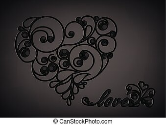 black calligraphic heart with shadow and love word on the black background horizontal