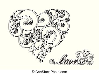 black calligraphic heart with shadow and love word on the white background horizontal