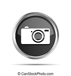 black camera icon button on a white background